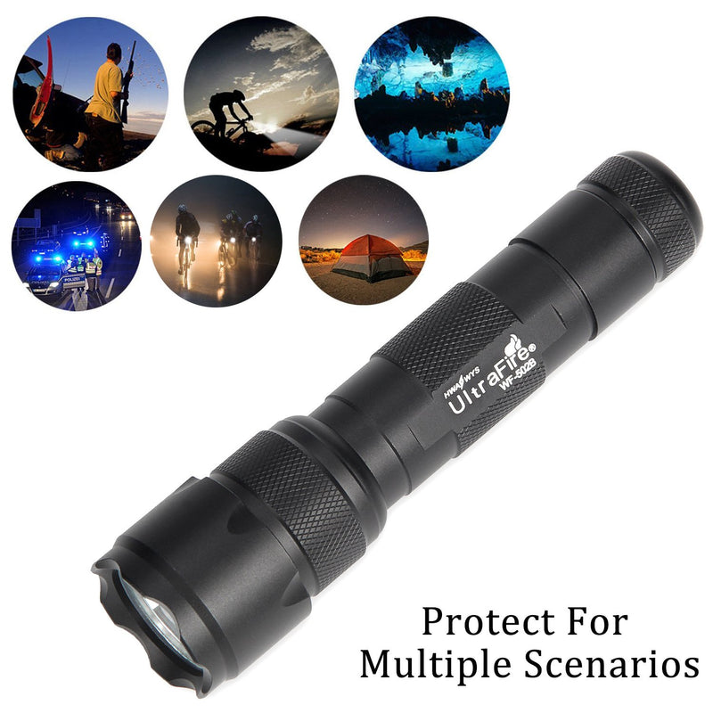 Australia UltraFire WF-502B Flashlight 800 Lumen LED 3 Modes Output Run On 18650 Battery (NOT Included)