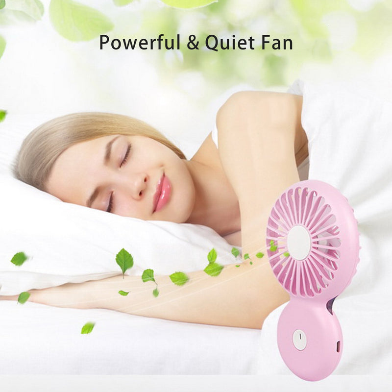 Australia Personal Fan Small Handheld Necklace Fan Rechargeable Battery Powered with Night Light for Outdoor Travel Office Home (White)