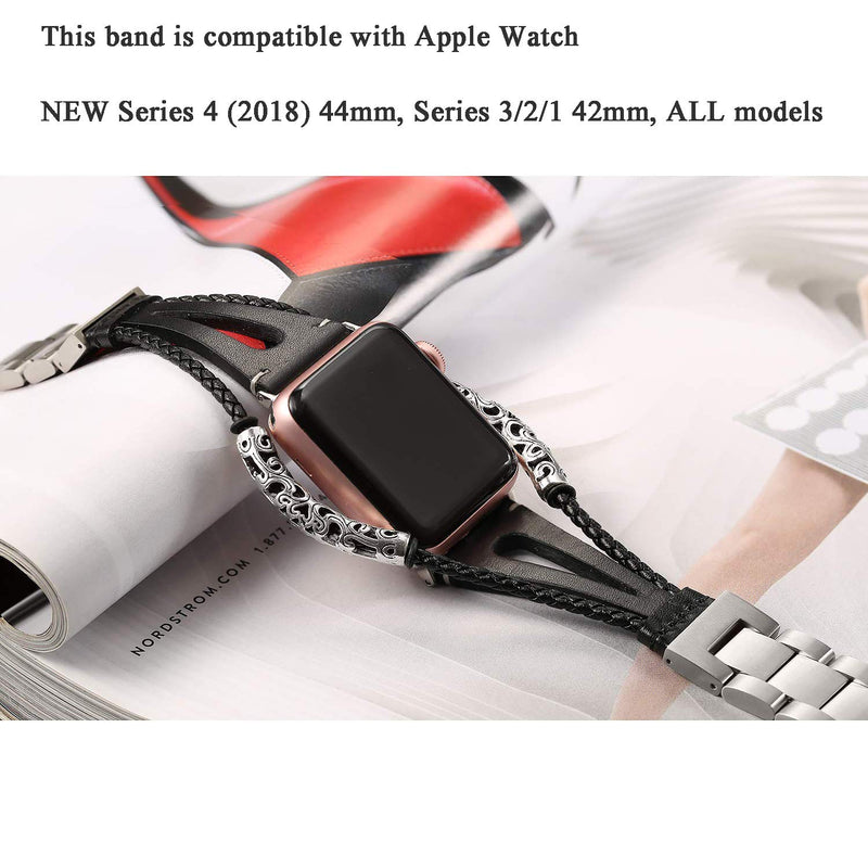 Secbolt Leather Bands Compatible Apple Watch Band Series 4 44mm, Series 3/2/1 42mm, Double Twist Handmade Vintage Natural Leather Bracelet Replacement Bracelet Straps Women