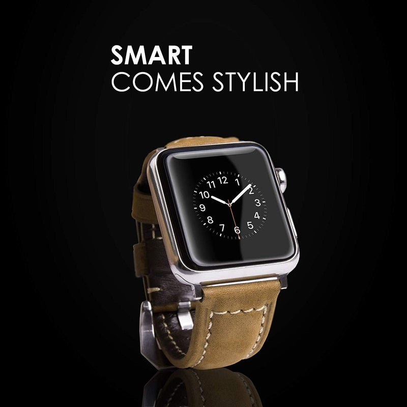 SwizzClub Compatible with Apple Watch Band Leather 42mm 44mm - Replacement for Iwatch Band 44mm 42mm Series 4/3/2 - Compatible with Apple Watch Series 4 (44mm) Series 3 Series 2 for Women Men, Brown