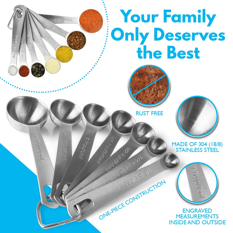 Australia Stainless Steel Measuring Spoons Set: 7 Spoon Metal Sets of 7 for 7