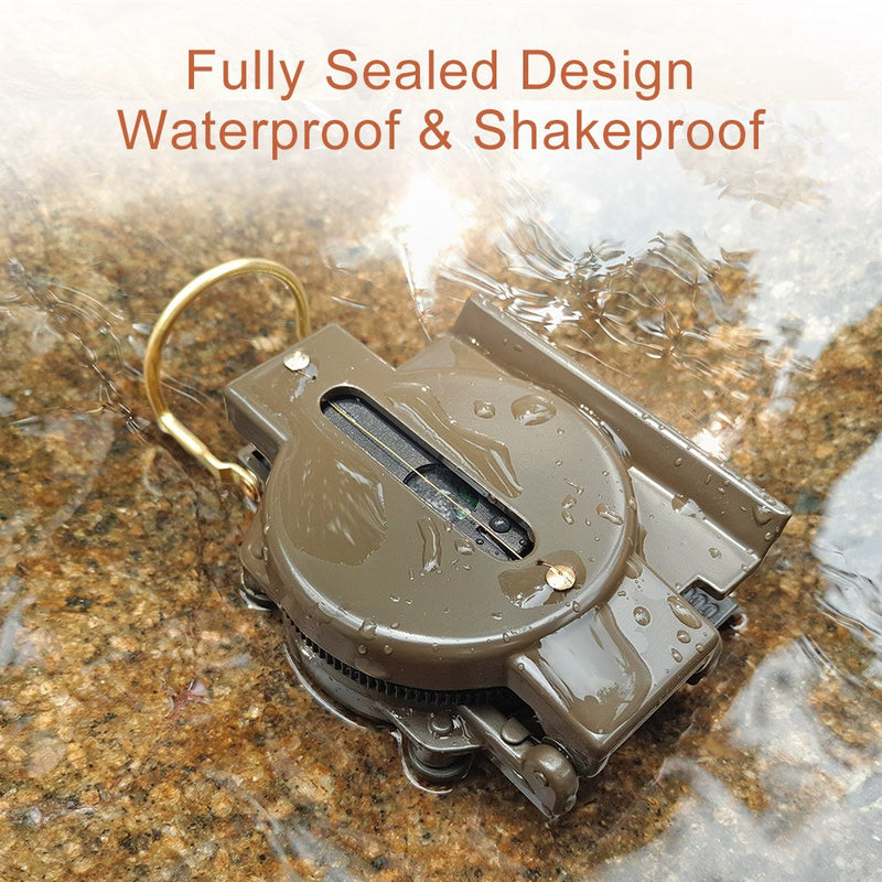 Australia Multifunctional Military Compass, Amy Green, Waterproof and Shakeproof, Compass for Outdoor, Camping, Hiking, Military Usage