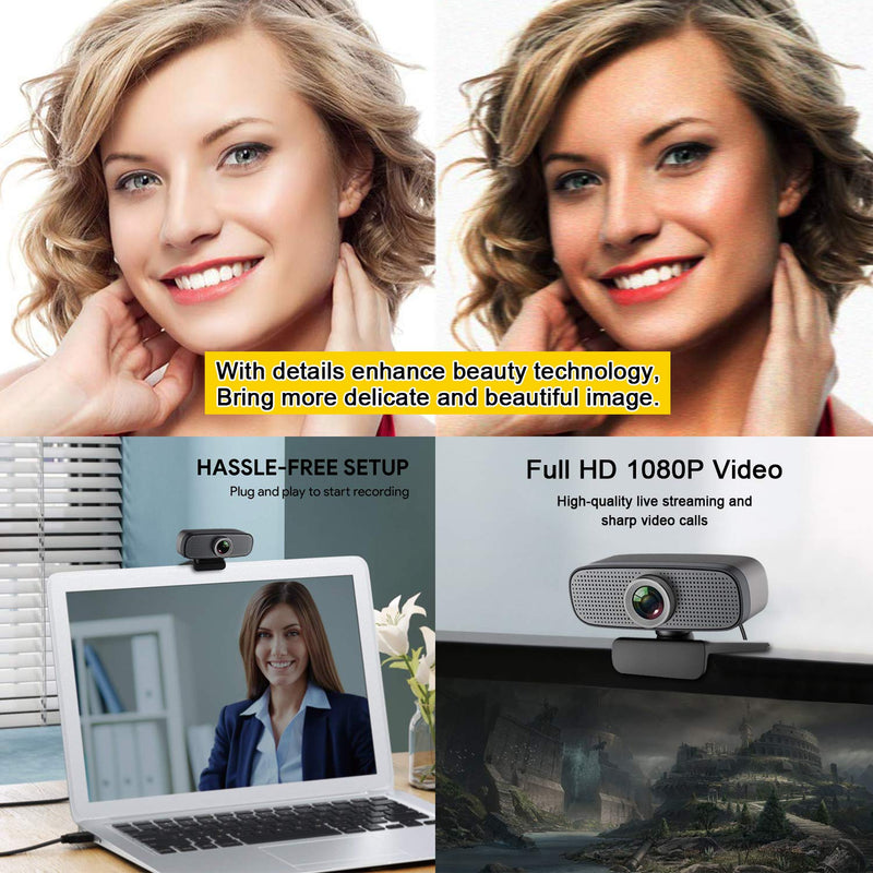 Australia Webcam HD 1080P Stream Webcam Built-in Dual Microphones Computer Camera Compatible with Xbox OBS Twitch Skype YouTube XSplit, Compatible for Mac OS Windows 10/8/7