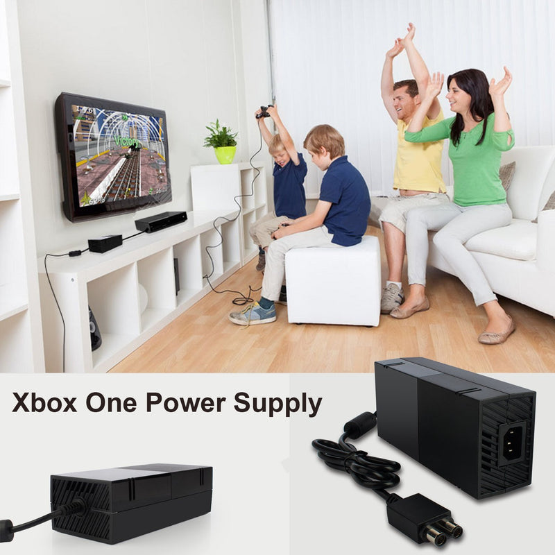 Xbox One Power Supply Brick, [Advanced QUIET VERSION] AC Adapter Power Supply Charger Cord Replacement for Xbox One 100-240V, Black