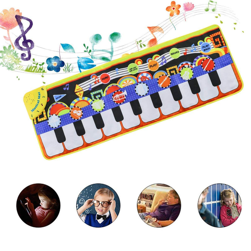 Australia Cyiecw Piano Music Mat, Keyboard Play Mat Music Dance Mat with 19 Keys Piano Mat, 8 Selectable Musical Instruments Build-in Speaker & Recording Function for Kids Toddler Girls Boys, 43.3'' x14.2''
