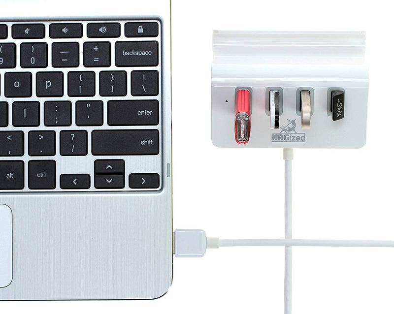 Artix M-325 USB 3.0 4-Port Portable Hub with 2-Foot USB 3.0 Cable - 4-Port Hub with Stand (Silver)