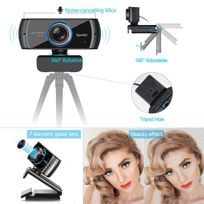 Australia Spedal Full HD Webcam 1536p, Beauty Live Streaming Webcam, Computer Laptop Camera for OBS Xbox XSplit Skype Facebook, Compatible for Mac OS Windows 10/8/7