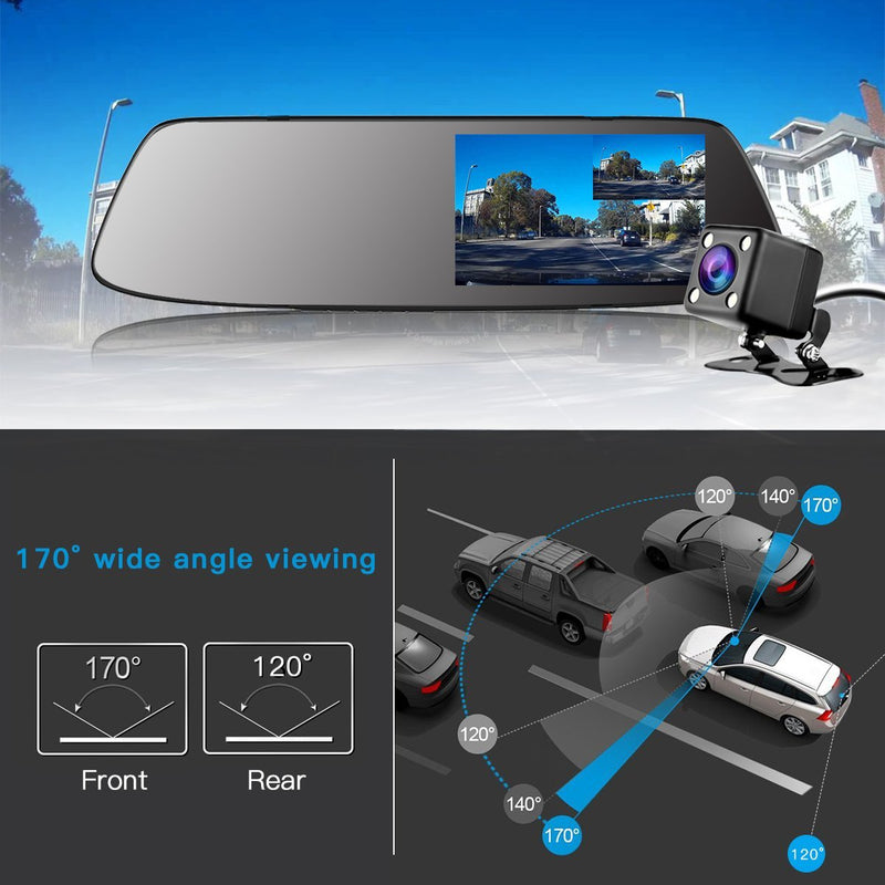 Dash Cam Backup Camera TOGUARD Mirror Dash Cam Rear view Dual Lens 4.3 Inch Touch Screen,1080P Full HD 170 Wide Angle Front Car Camera Video Recorder and with Parking Monitor G-Sensor Loop Recording