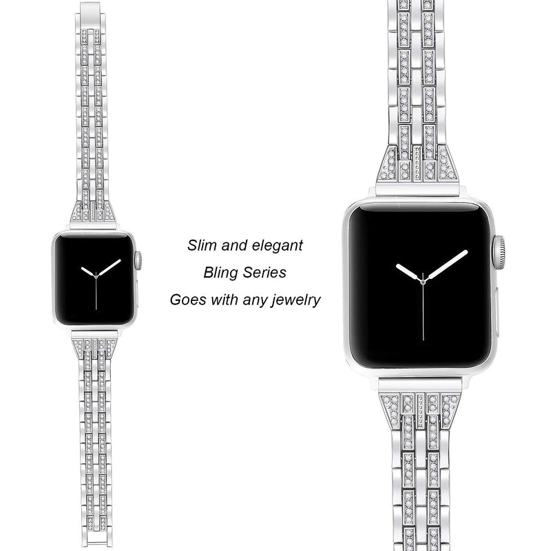 Australia Secbolt Slim Bling Bands Compatible Apple Watch Band 42mm 44mm iWatch Series 4, Series 3, Series 2, Series 1, Diamond Rhinestone Metal Jewelry Wristband Strap, 4 Colors Available