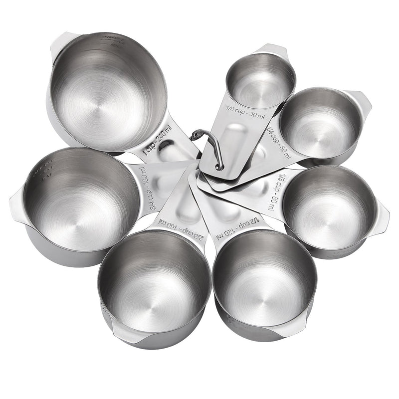 Australia Measuring Cups and Spoons Set of 15, Durable Single Stainless Steel 7 Measuring Cups and 8 Measuring Spoons (Stainless steel) (Stainless Steel)