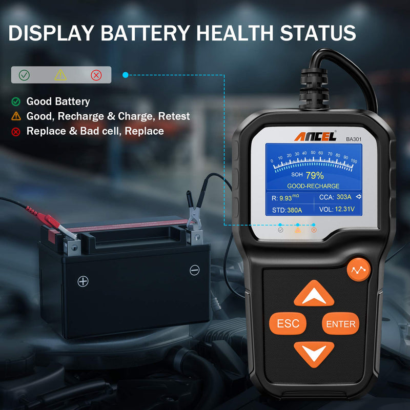 ANCEL BA301 6V 12V Battery Load Tester Car Alternator Analyzer Cranking Charging System Test Tool for Motorcycle Car Boat Light Truck and More