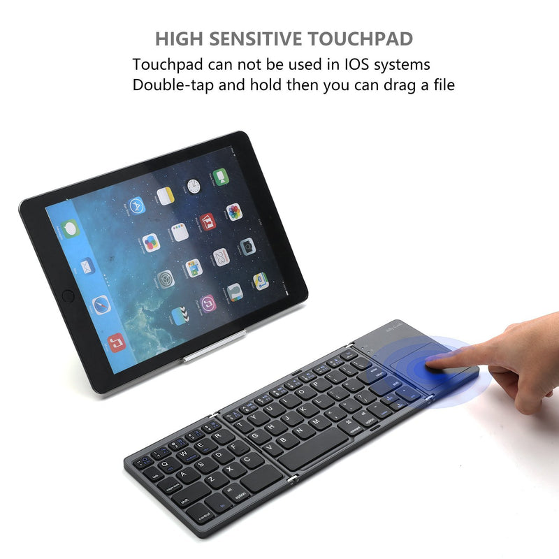 Foldable Bluetooth Keyboard, Jelly Comb Pocket Size Portable Mini BT Wireless Keyboard with Touchpad for iOS, Android, Windows, PC, Tablet, With Rechargable Li-ion Battery