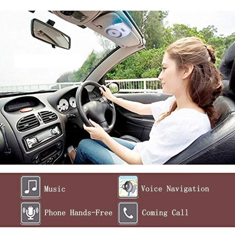 Bluetooth Car Speakerphone Kits,Bluetooth 4.1 Hands-Free Motion AUTO-ON Car Kit Stereo Music Speaker Wireless Sun Visor Audio Receiver Player Adapter Connect 2 Phones At Same Time - CocoonPower Australia