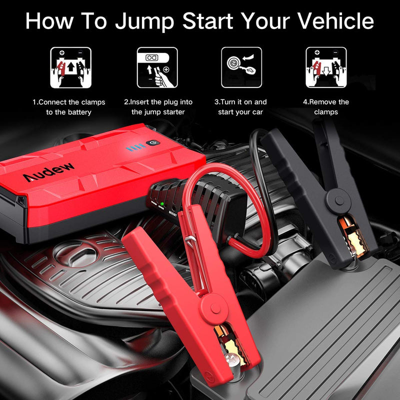 Audew 1000A Peak Car Jump Starter (Up to 8.0L Gas or 7.0L Diesel Engine) Portable Jump Pack, Auto Battery Booster, 12V Car Jumper with Dual USB Ports and Flashlight