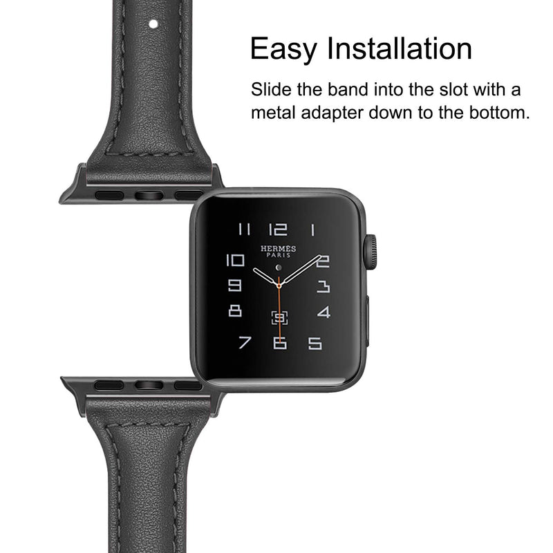 Australia Fintie Band Compatible with Apple Watch 40mm 38mm, Slim Genuine Leather Replacement iWatch Wrist Strap with Metal Clasp for Apple Watch Series 4 (40mm) / Series 3 2 1 (38mm) All Models - Black