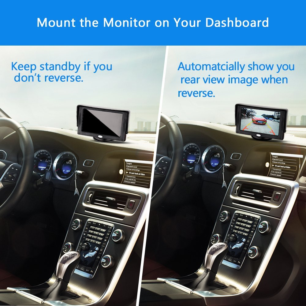 Backup Camera and Monitor Kit For Car,Universal Wired Waterproof Rear-view...