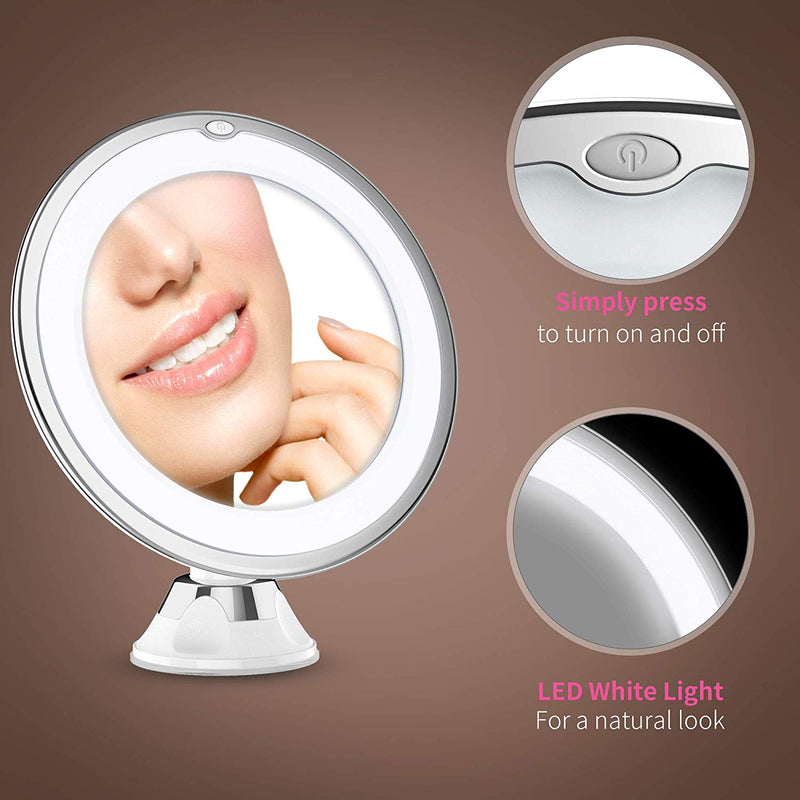 Updated 2019 Version 10X Magnifying Makeup Vanity Mirror With Lights, LED Lighted Portable Hand...