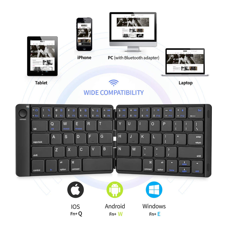 Australia Samsers Foldable Bluetooth Keyboard - Portable Wireless Keyboard with Stand Holder, Rechargeable Full Size Ultra Slim Folding Keyboard Compatible IOS Android Windows Smartphone Tablet and Laptop-Black