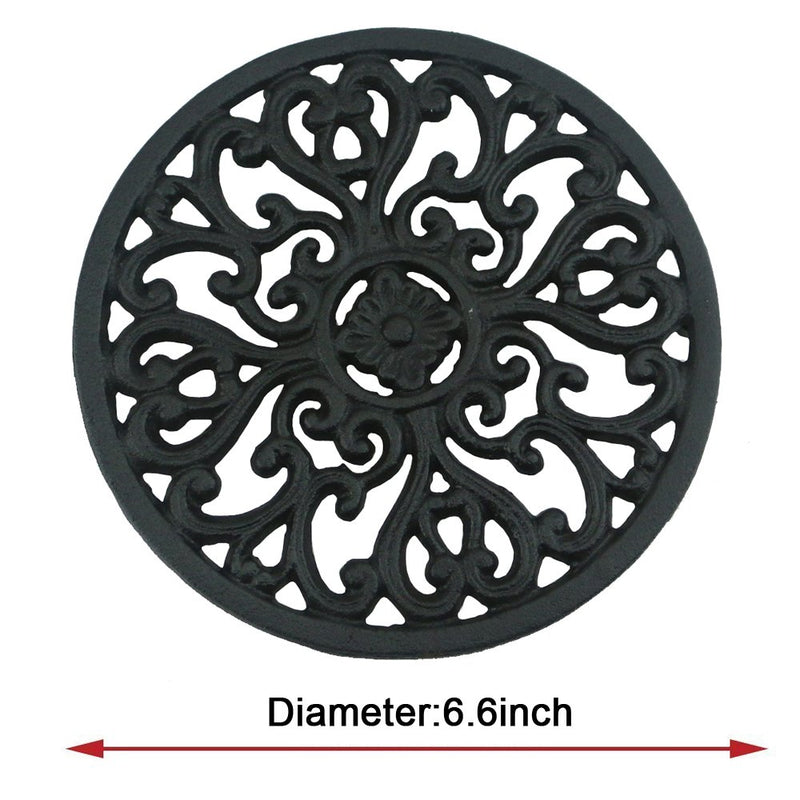 "Ogrmar 6.6 "" Diameter Decorative Cast Iron Round Trivet with Vintage Pattern for Rustic Kitchen Or Dining Table with Rubber Pegs (6.6 "", Brownish black)"