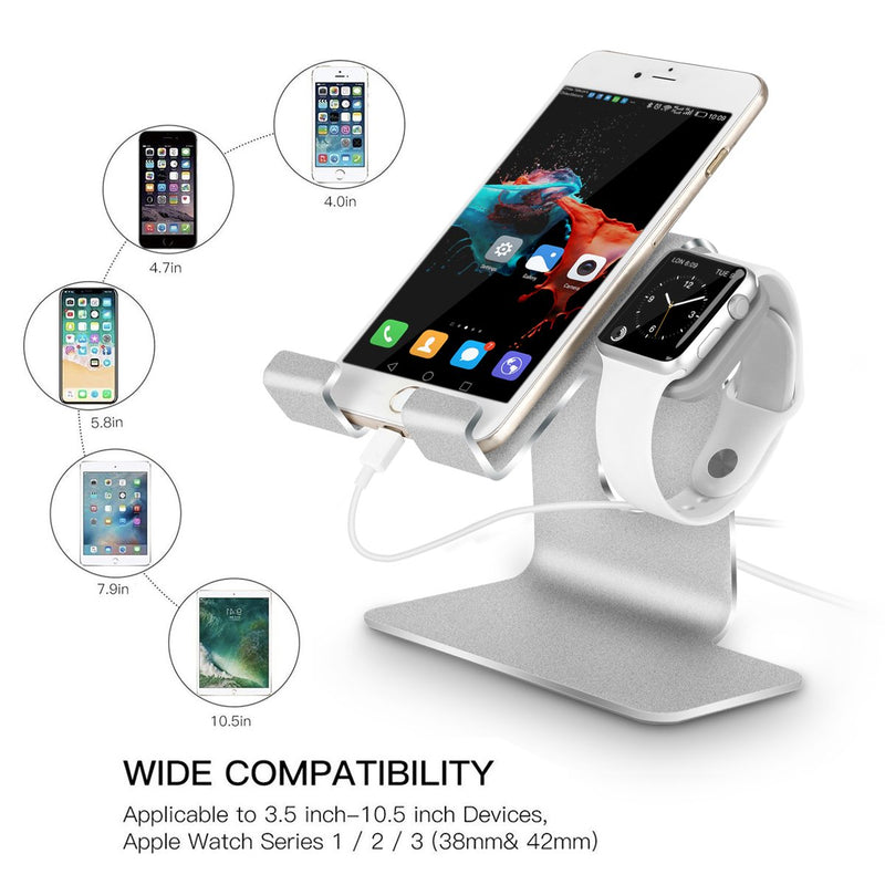 Tranesca 2-in-1 Charging Stand Compatible with Apple Watch 4/Apple Watch 3/Apple Watch 2/Apple Watch 1(38mm/40mm/42mm/44mm) and iPhone/iPad (Silver-Must Have Apple Watch Accessories)