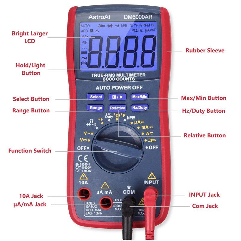 AstroAI Digital Multimeter TRMS 6000 Counts Volt Meter Auto-Ranging Tester; Fast Accurately Measures Voltage Current Resistance Diodes Continuity Duty-Cycle Capacitance Temperature for Automotive