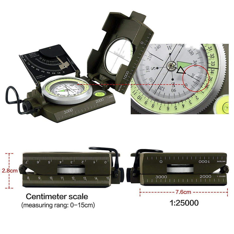 Eyeskey Waterproof Multifunctional Military Aluminum Alloy Compass with Inclinometer for Camping, Hiking, Hunting? Boy Scout