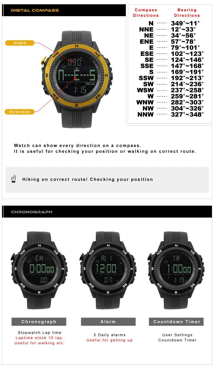 LAD WEATHER] German Sensor Altimeter Barometer Chronograph Digital Compass Timer Lap Time Alarm Multifunction Outdoor Sport (Climbing/Hiking/Running/Walking/Camping)