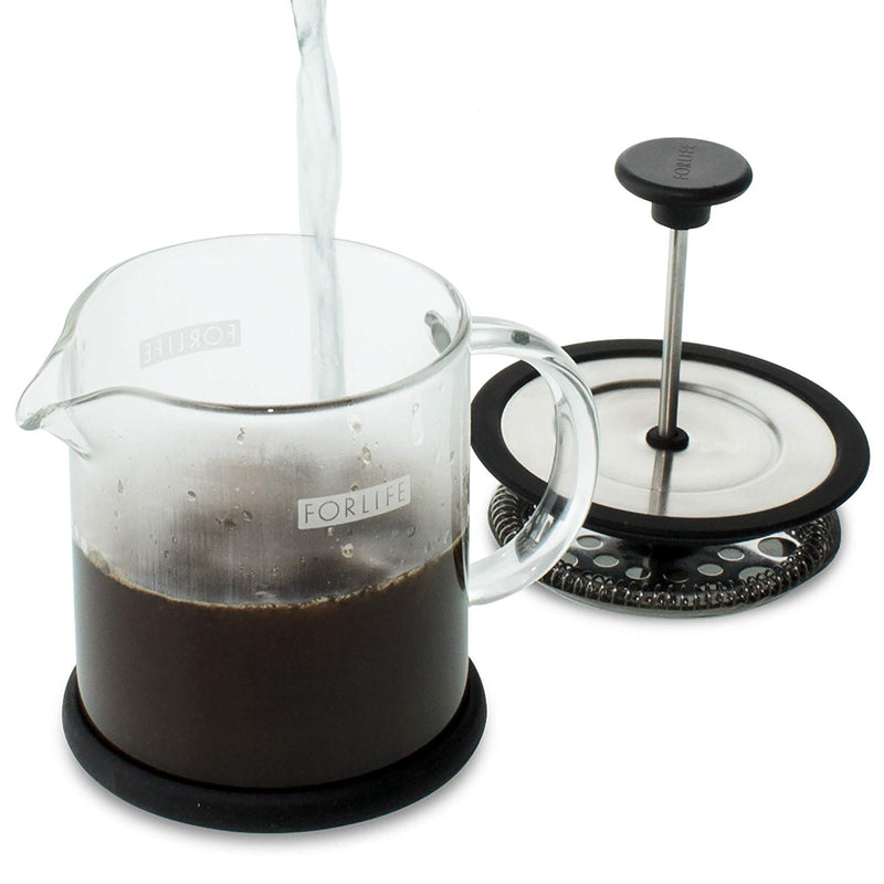 FORLIFE Cafe Style Glass Coffee/Tea Press, 16-Ounce, Black
