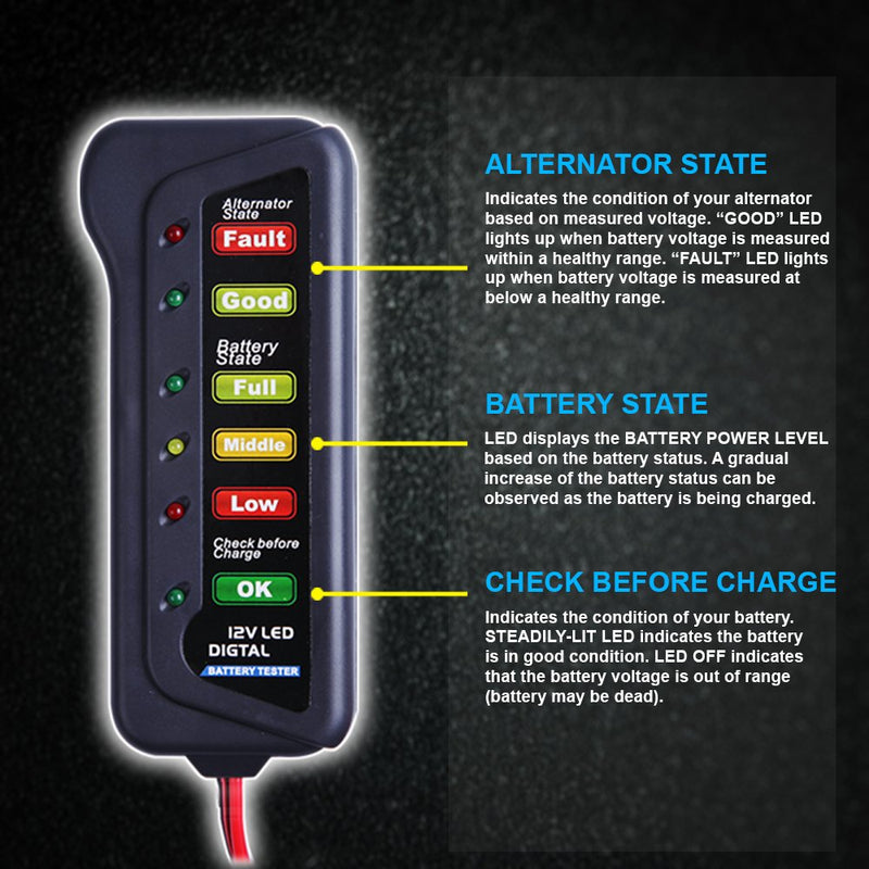 CARTMAN 12V Car Battery Alternator Tester, Test Battery Condition & Alternator Charging, LED Indication