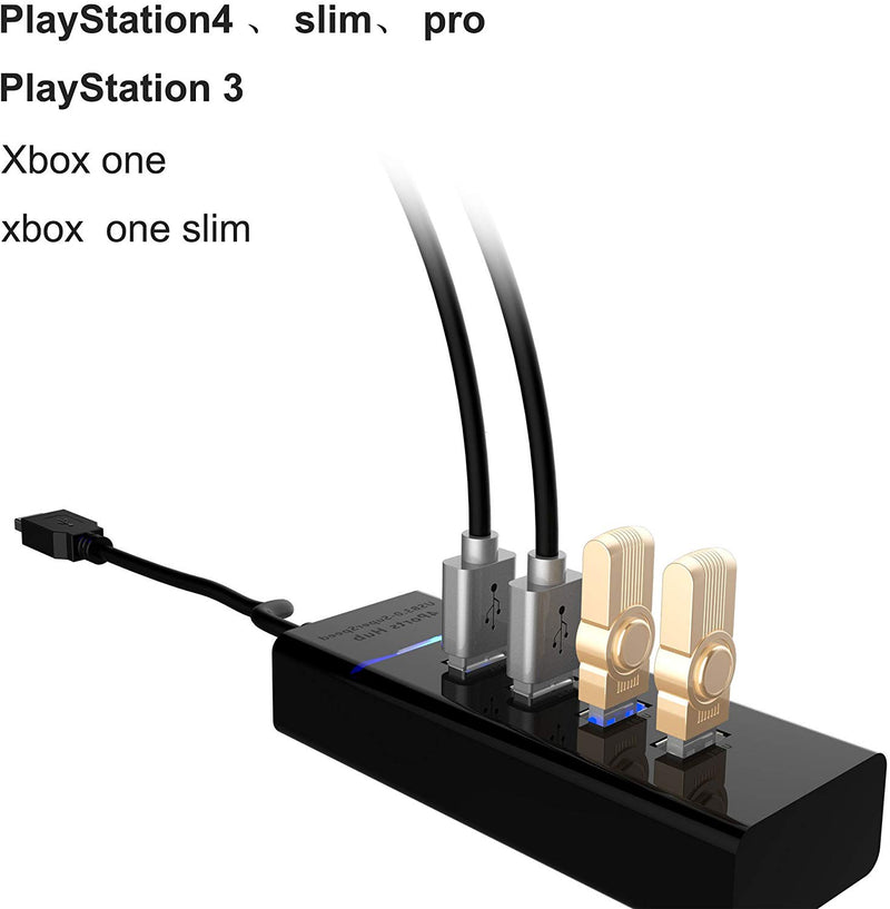 SUNKY PS4 / PS4 Slim / PS4 Pro USB Hub, 4-Port USB 3 0 Hub High Speed  Splitter Expansion Controller Charger Adapter for Sony Playstation 4 Slim  Pro /