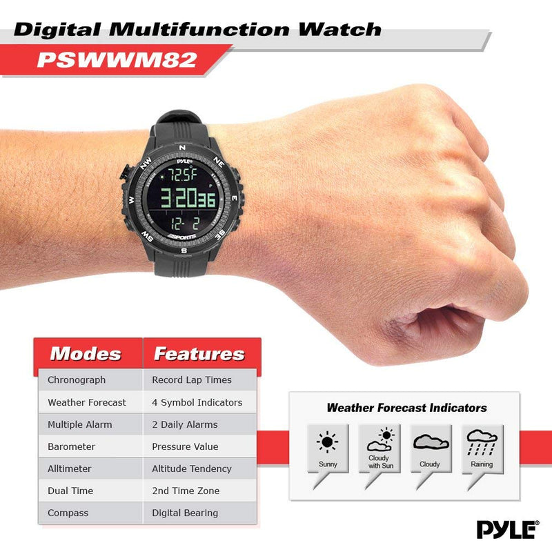 Digital Multifunction Sports Wrist Watch - Smart Fit Classic Men Women Sport Running Training Fitness Gear Tracker w/ Altimeter, Barometer, Compass, Timer, Weather Forecast - Pyle PSWWM82BK (Black)