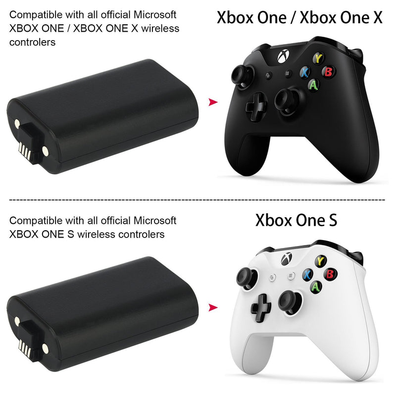 Xbox One S Battery Controller Pack, YTEAM Xbox One S X Play and Charge Kit,2x1200mAh Rechargeable Battery Twin Pack + 8.2Ft/2.5M Micro USB Charging Cable for Xbox One/One S /One X Controllers.