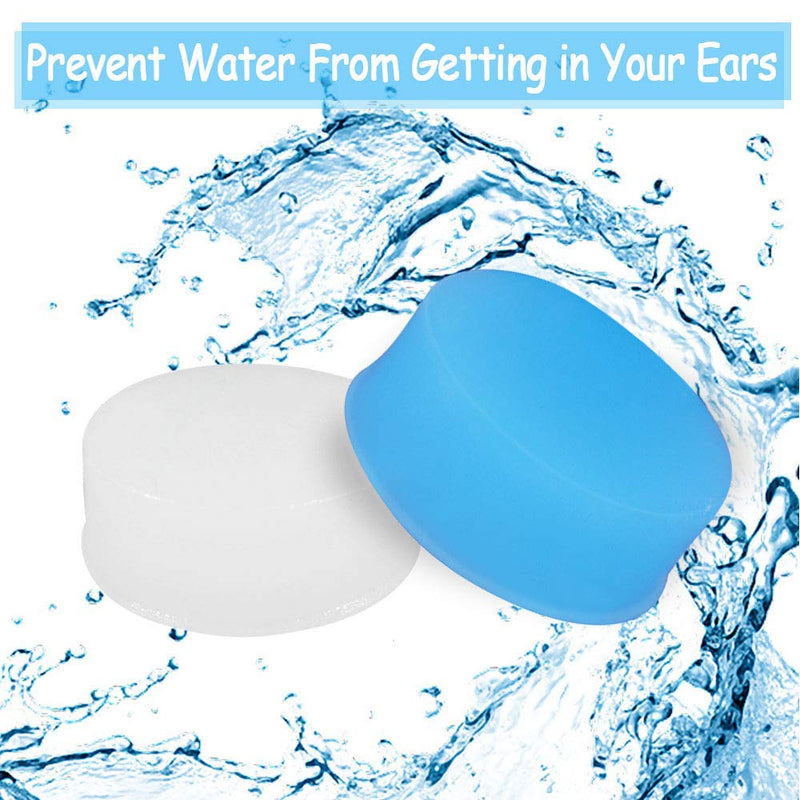 Heqishun 24 Pairs Soft Silicone Ear Plugs Putty Ear Plugs for Sleeping Swimming earplugs for Kids Adults, Transparent + Blue