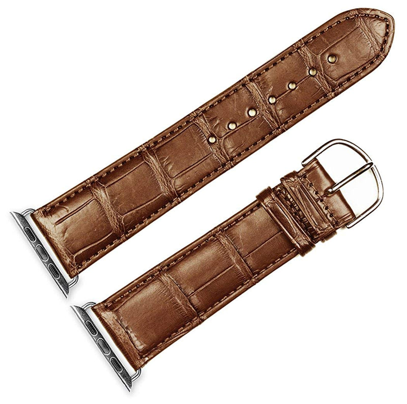 Debeer Replacement Watch Strap - Genuine Alligator - Saddle - Fits 38mm Apple Watch [Silver Adapters]