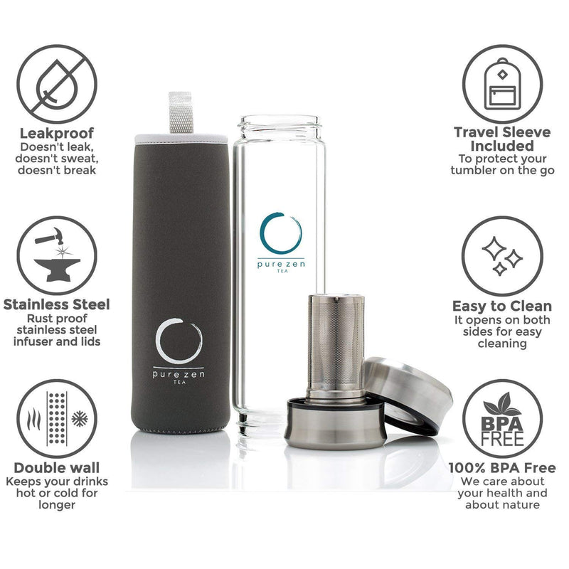 Pure Zen Tea Tumbler with Infuser | BPA Free Double Wall Glass Travel Tea Mug with Stainless Steel Filter | Leakproof Tea Bottle with Strainer For Loose Leaf Tea and Fruit Water 13 Ounce