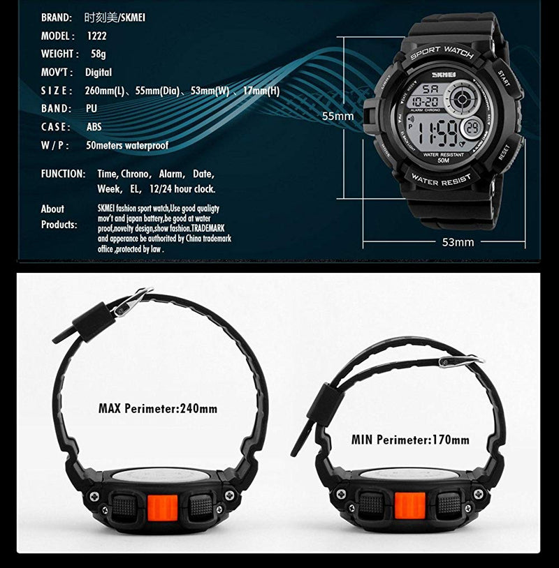 Fanmis Mens Boys Sports Multifunction Waterproof Digital Watch Military 12/24H Electronic Alarm Stopwatch 7 Color Backlight 164FT Water Resistant Calendar Black Rubber Strap Watch Blue