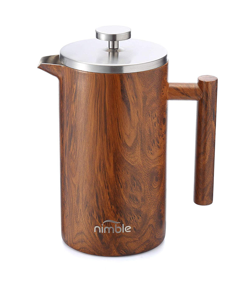 Australia Nimble French Press Stainless Steel Insulated Double-Walled Coffee Press, Wood Finish - 34 fl oz. / 1000 Milliliter