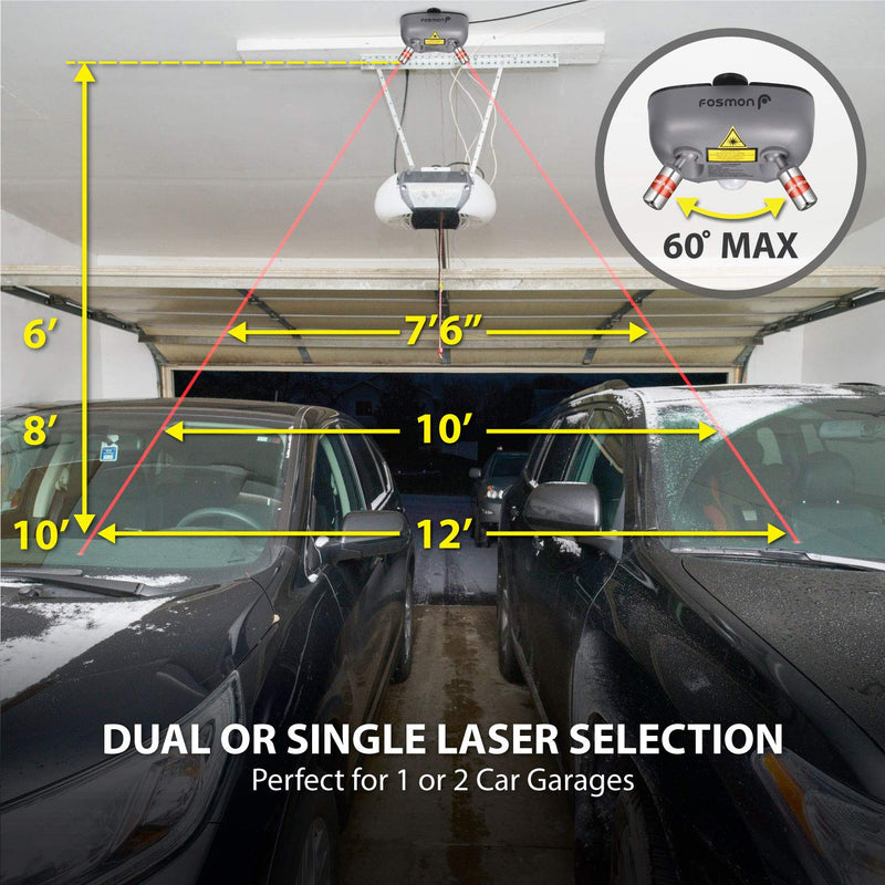 Motion Activated Sensor FDA Approved Class 3R//IIIA Laser AC Adapter and Battery Backup Fosmon Dual Laser Garage Parking Assist Guide System Garage Parking Assistant Aid