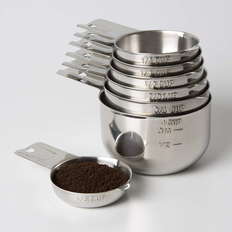 Australia Measuring Cups 7 Piece with New 1/8 cup (Coffee Scoop) by KitchenMade-Stainless Steel-Nesting set.