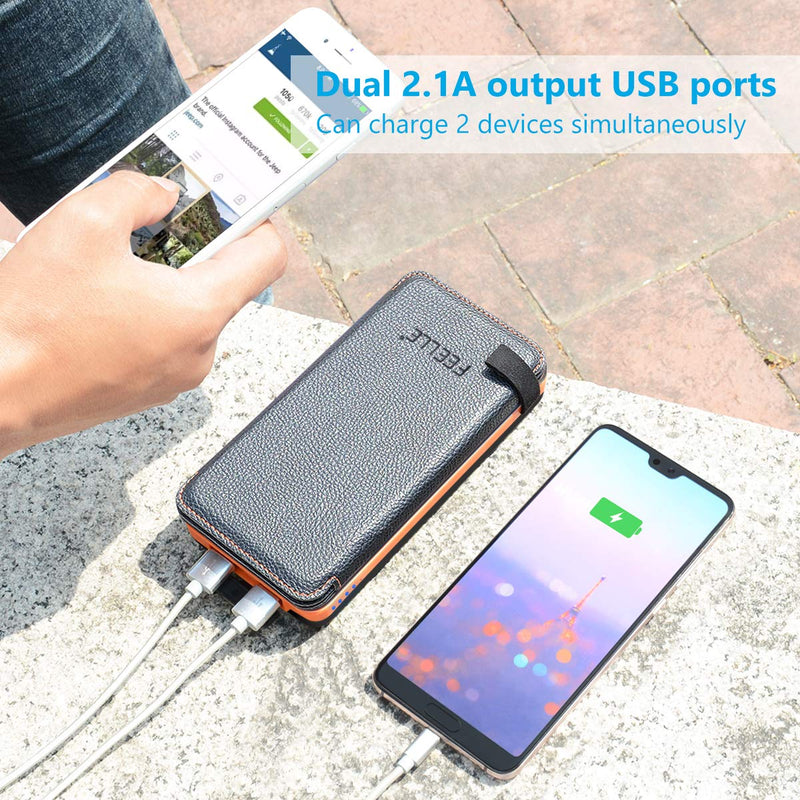 Australia Solar Charger 24000mAh, FEELLE Solar Power Bank with 2 USB Ports Waterproof Portable External Battery Compatible with Smartphones, Tablets and More