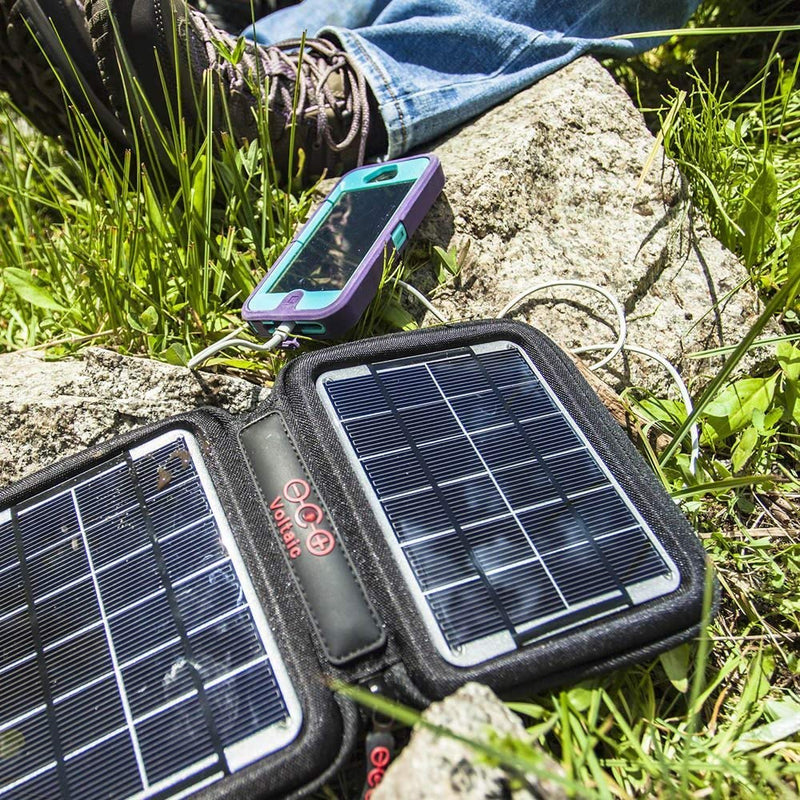 Australia Voltaic Systems Amp Portable Rapid Solar Charger with Battery Pack (Power Bank) 4,000mAh & 2 Year Warranty | Powers Phones Compatible with iPhone, Tablets, USB, More | Waterproof - Silver