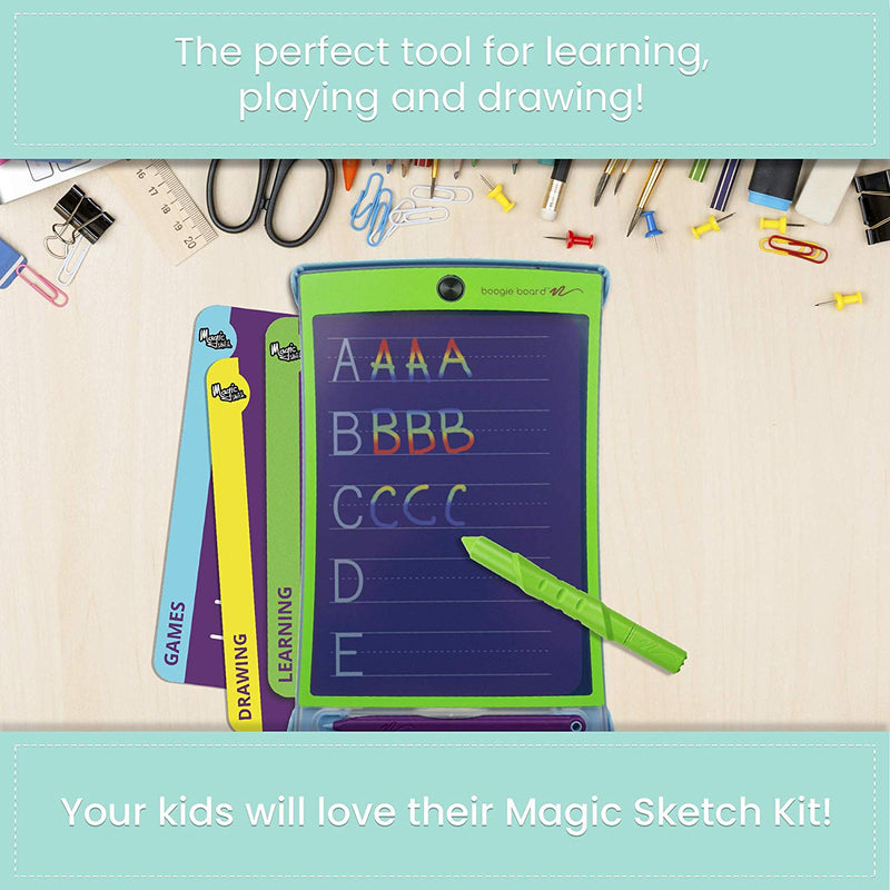 Australia Boogie Board Magic Sketch Color LCD Writing Tablet + 4 Different Stylus and 18 Stencils for Drawing, Writing, and Tracing eWriter Ages 3+