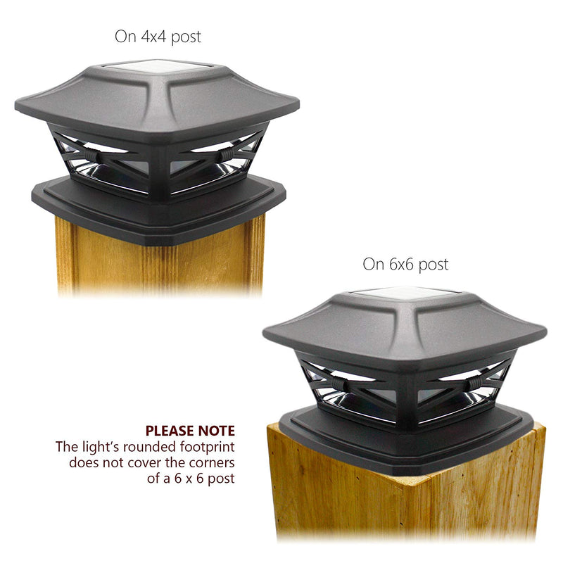 2 pack Davinci Solar Post Cap Lights Outdoor for Fence Deck or Patio