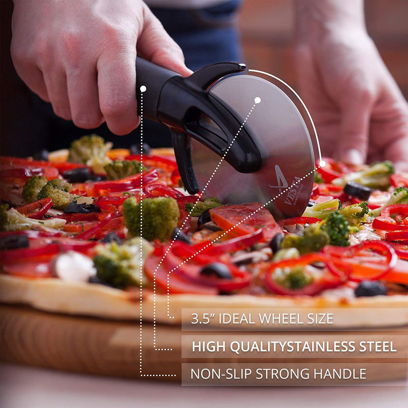 Australia Premium Professional Pizza Cutter Wheel By VestaHomeStore - With Sharp Angled Stainless Steel Blade, Ergonomic Anti-Slip Handle & Durable Blade Cover - Ideal For Pizza, Pies, Waffles and Dough Cookies