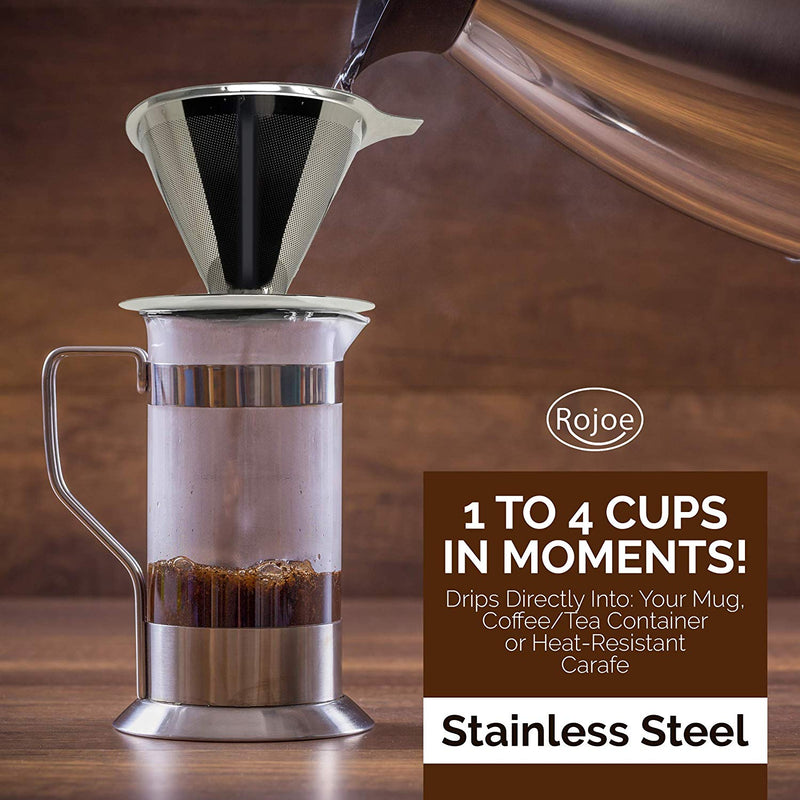ROJOE Paperless Pour Over Coffee Dripper and Tea Maker, Stainless Steel with a Reusable Drip Cone, Portable Filter from Single Serve to 4 Cup Brewer