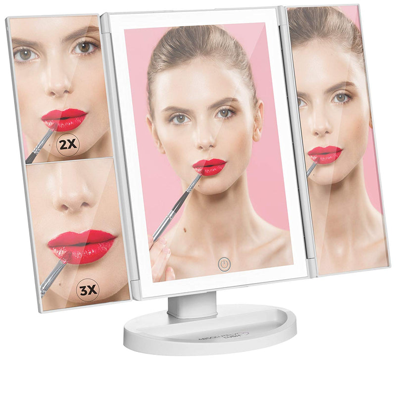 Absolutely Lush Lighted Makeup Mirror Vanity Mirror with Lights, Touch Screen Dimming, Tri-Fold 1x 2X 3X Magnification Sections, Portable High Definition Clarity Cosmetic Light Up Magnifying Mirror