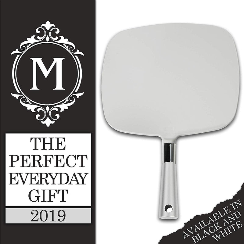 Mirrorvana Large & Comfy Hand Held Mirror with Handle (2018 Silver Salon Model)