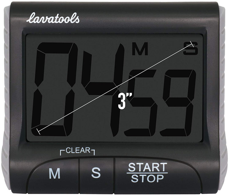 Australia Lavatools KT1 Digital Kitchen Timer & Stopwatch, Large Digits, Loud Alarm, Magnetic Stand (Black)