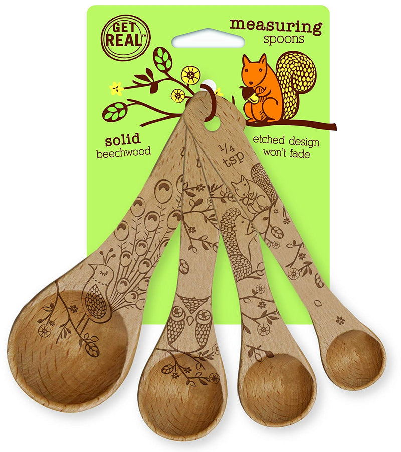 Australia Talisman Designs 1201 Laser Etched with Woodland Design Beechwood Measuring Spoons Set of 4 Brown