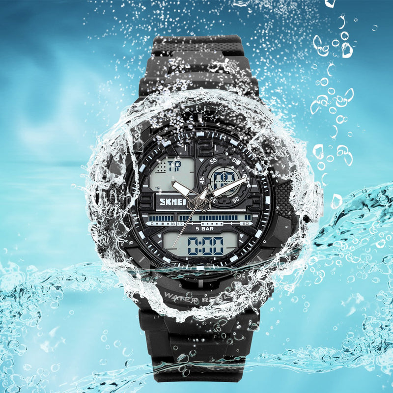 Lancardo 50M Water Resistant Dual Display 2 Time-Zone Digital Military Army Led Sports Watch(Silver,2Pcs)